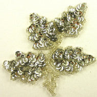 "Leaf with Silver Beads and Sequins 4"" x 5"""