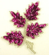 "Leaf with Fuchsia Sequins/Silver Beads 5"" x 4"""