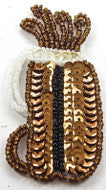 "Golf Bag with Bronze Sequins and Beads 3"" x 1.25"