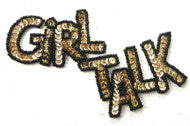 GIRL TALK Sequin Applique Word Black and Gold