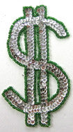 "$ Sign, Silver Sequins & Green Beads 5"" x 2.7"""