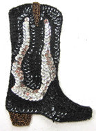 "Boot Cowboy with Silver/Black/Bronze Sequins and Beads 6.5"" x 4.5"""
