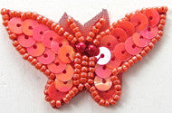 "Butterfly with Coral Sequins and Beads 1"" x 1.5"""