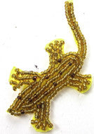 "Gecko with Gold and Bronze Beads 1"" x 2.5"""
