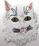 "Cat with White Sequin Face Beaded Eyes 8"" X 6"""