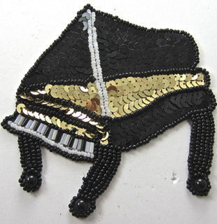"Piano with Black Beads and Gold Sequins 4.5"" x 4"""