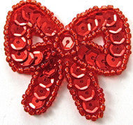 "Bow Red Sequins and Beads 1.5"" x 1.5"""