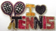 "I Love Tennis With Beaded Tennis Racquets, 6.5"" x 3.5"""