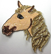 "Horse Head Peach/Gold Bronze Sequins and Beads 10"" x 8.5"""