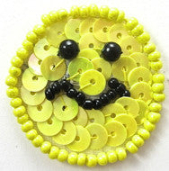 Smiley Face with Yellow Sequins and Beads 1""