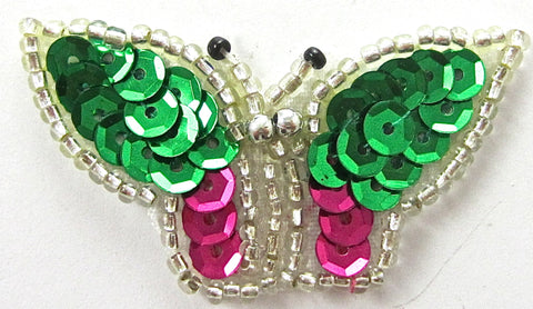 "Butterfly wth Green and Fuchsia Sequins 2"" x 1"""