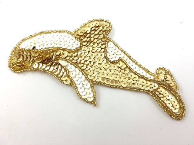 "Dolphin with Gold and White Sequins 3"" x 5.5"""