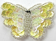"Butterfly with Yellow and Iridescent Sequins Silver Beads 2.25"" x 1.5"""