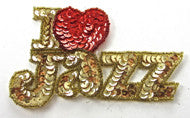 I LOVE ZAZZ large with Gold and Red Sequins