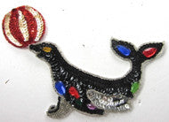 "Seal with Ball MultiColored Sequins,  Beads and Costume Gems 3"" x 6.5"""