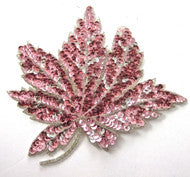 "Leaf with Pink/Silver Sequins and Beads 8"" X 8"""