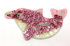 "Dolphin with Pink, Fuchsia, Iridescent Sequins and Beads 3"" x 5"""