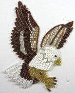 "Eagle with Bronze/Gold White Sequins and Beads 6"" X 4"""