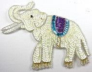 "Elephant with White/Turquoise/Purple Sequins 5.5"" x 7"""