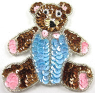 Teddy Bear Small with Pink/Blue/Bronze Sequins and Beads 3.5""