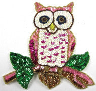 "Owl with MultiColored Sequins and Beads 6.5"" x 6"""