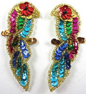 "Parrot Pair Small with MultiColored Sequins and Beads 3"" X 1"""