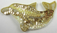 "Dolphin with Gold and Iridescent Sequins and Beads 2.5"" x 5"""