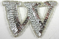 Letter W with Silver Sequins and Beads 2.25""