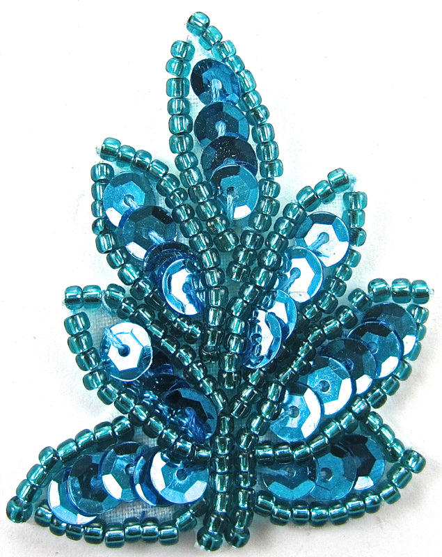 Leaf with Turquoise Sequins and Beads
