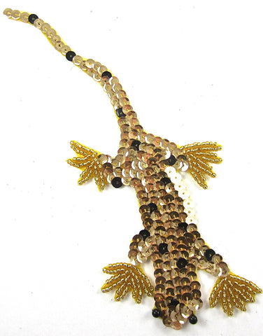 "Lizard with Gold Black Sequins and Beads 3"" x 7"""