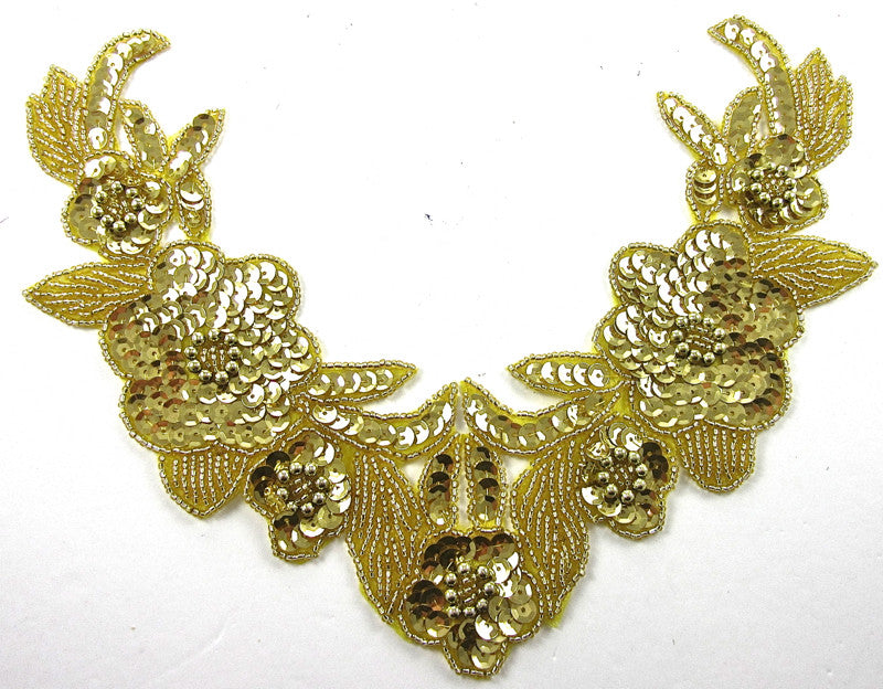 Flower Neckline Light Gold Sequins and Beads 6.5