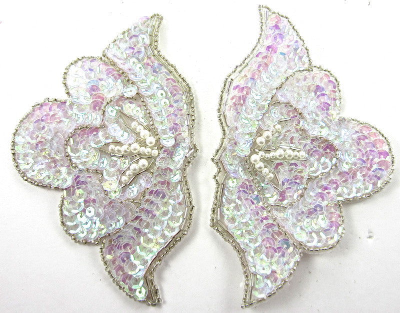 "Designer Motif Pair with Iridescent Purple Sequins and White Beads Silver trim 3"" x 5"""