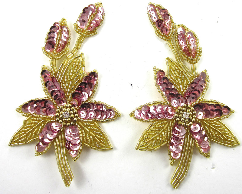 "Flower Pair with Pink Sequins and Beads and Rhinestone 5.5"" x 3"""