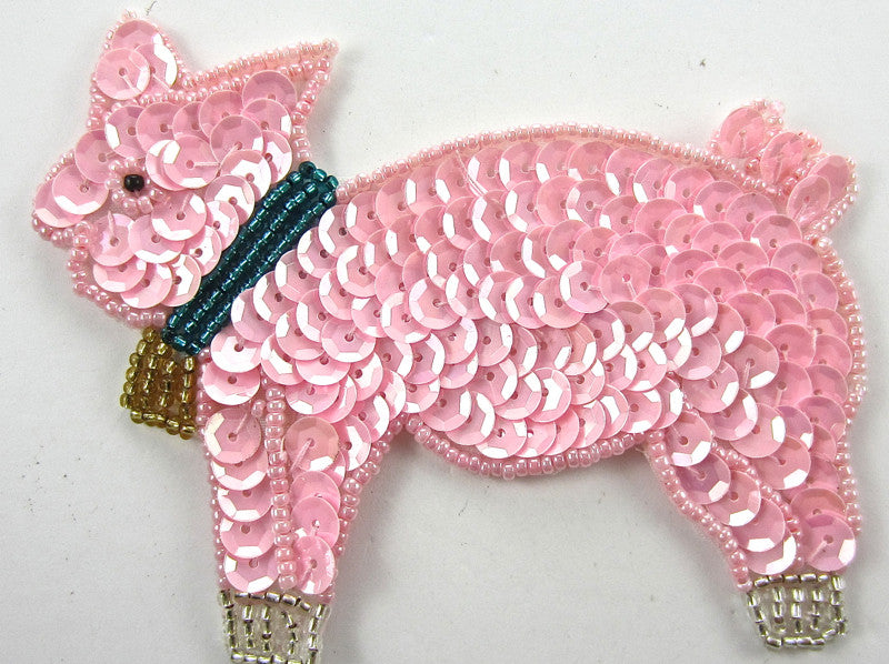 "Pig with Pink Sequins and Bell   3.25"" x 4"""