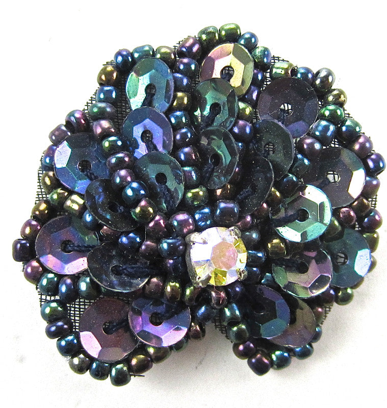 "PAIR Seashell PAIR with Moonlight Sequins and Beads 1.25"" x 1.25"""
