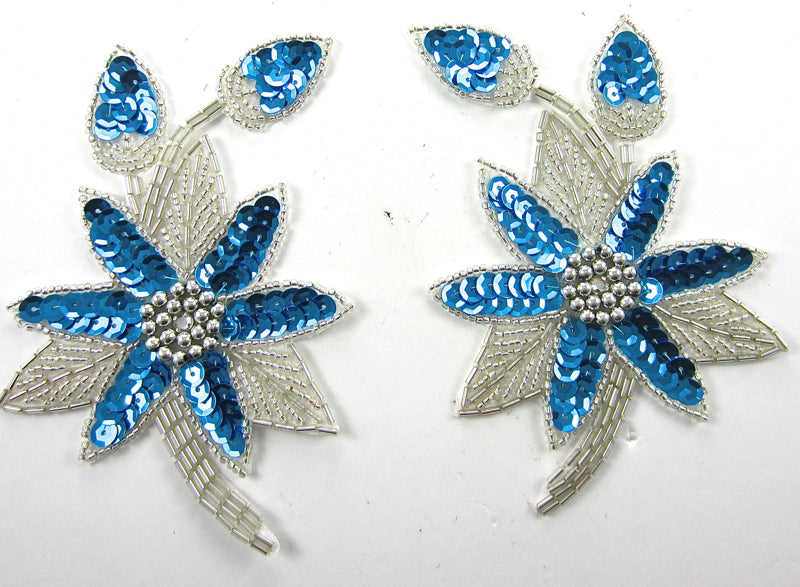 "Flower Pair Turquoise Sequins and Silver Beads 5.5"" x 3.5"""