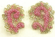 Motif Pair with Pink and Silver Beads 2""
