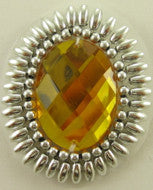 "Jewel Motif Silver Beads Yellow Acrylic Stone 2"" x 1.5"""