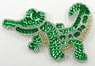 "Alligator with Green/Silver/Gold Beads 3"" x 4"" - Sequinappliques.com"