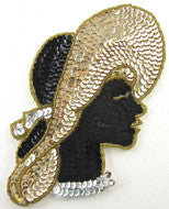 "Lady with Hat Gold/Black/Silver Sequins and Beads 6.25"" x 3.5"""