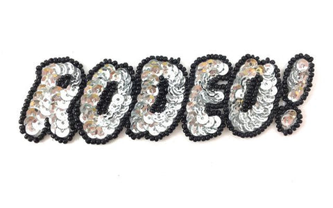 "Rodeo Word, Silver and Black Sequin Beaded 1.5"" x 4.5"""