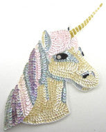 "Unicorn Large with MultiColored Sequins and Beads 12"" x 9.5"""