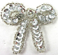 "Bow with Silver Sequins and Beads 1.5"" x 1.7/8"""