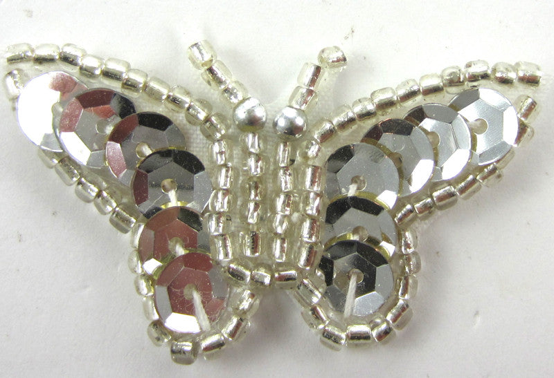 "Butterfly Silver Sequins and Beads  1"" x 2"""
