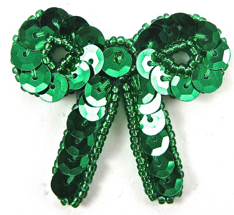 "Bow with Green Sequins and Beads  1.5"" x 1.7/8"""