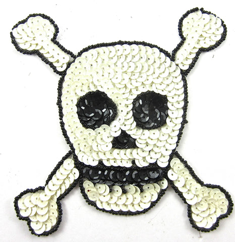 "Skull and Bones  White Sequins Black Beads 5"" x 5"""