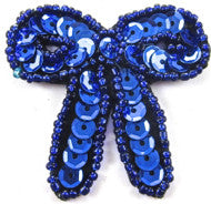 "Bow with Royal Blue Sequins and Beads 1.75"" x 1.75"""