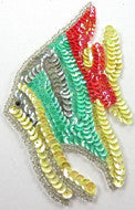 "Fish with MultiColored Sequins and Silver Beads 5"" x 4"""