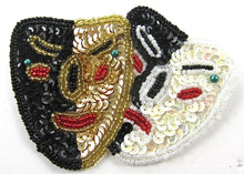 "Load image into Gallery viewer, Mask Mardi Gras with MultiColored Sequins and Beads 3.25"" x 2.5"""