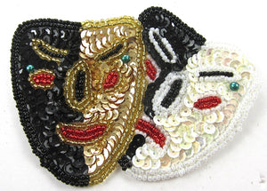 "Mask Mardi Gras with MultiColored Sequins and Beads 3.25"" x 2.5"""